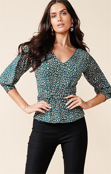 HERVE 3/4 SLEEVE REVERSIBLE STRETCH JERSEY COWL TIE TOP IN TEAL GOLD LEOPARD