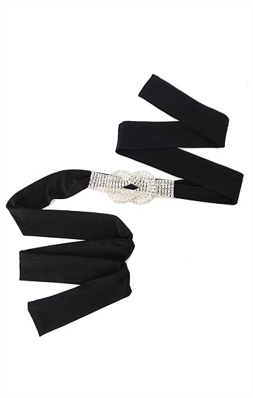DIAMANTE JERSEY FABRIC TIE BELT