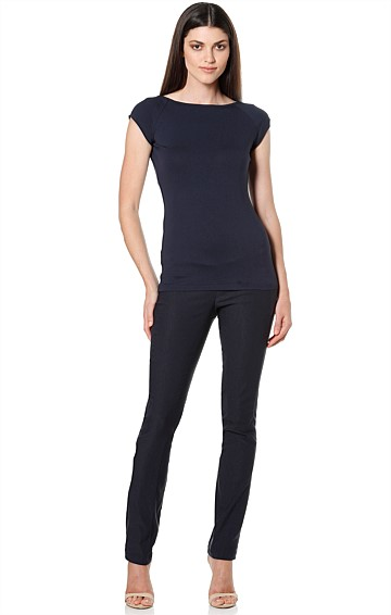 SKINNY STRETCH BENGALINE HIGH WAIST PANT IN NAVY